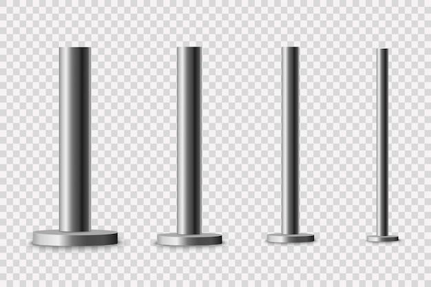 金属柱:柱の支柱、さまざまな直径の鋼管が、透明な背景に分離された丸いベースにボルトで固定されています。 Premiumベクター
