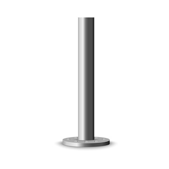 Metal column. metal pole post, steel pipe of various diameters installed are bolted on a round base isolated