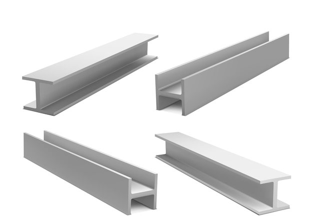Metal construction beams, steel structure girders isolated on white