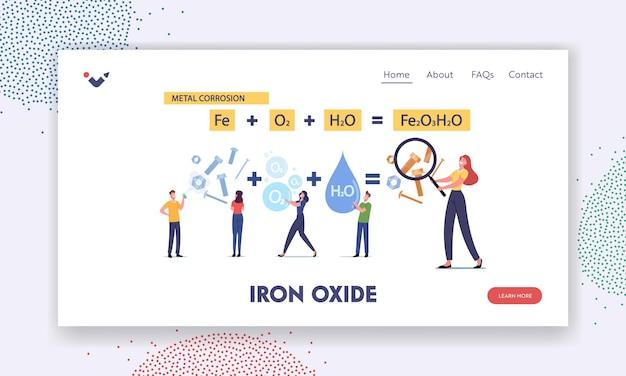 금속 부식 방문 페이지 템플릿. 녹의 화학 반응의 거대한 공식에서 작은 문자. 사람들은 산화물 녹슨 붉은 코팅에 대해 보호 스프레이를 사용합니다. 만화 벡터 일러스트 레이 션