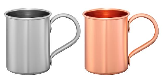 금속 컵 세트. 알루미늄 또는 스틸 여행용 머그잔. 차