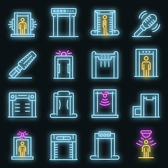 Metal detector icons set. outline set of metal detector vector icons neon color on black