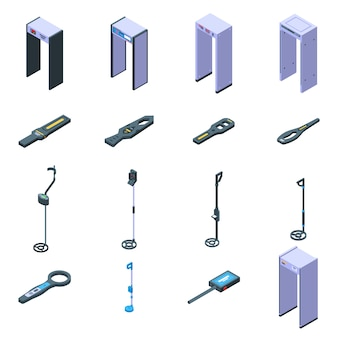 Metal detector icons set