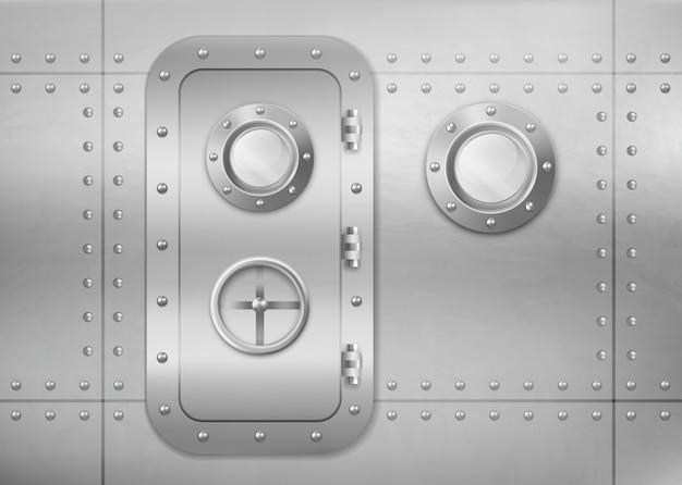 金属製のドアとport窓