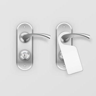 Metal door handle lock with hanger  on background