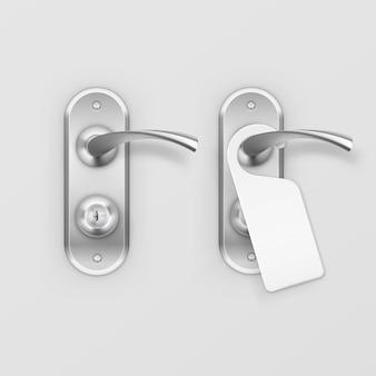 Metal door handle lock with hanger  on background
