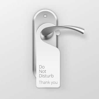 Metal door handle lock with hanger isolated