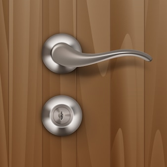 Metal door handle lock  on wood wooden background