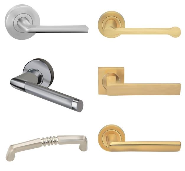 Металлические дверные ручки для интерьера комнаты в офисе или дома. векторная иллюстрация