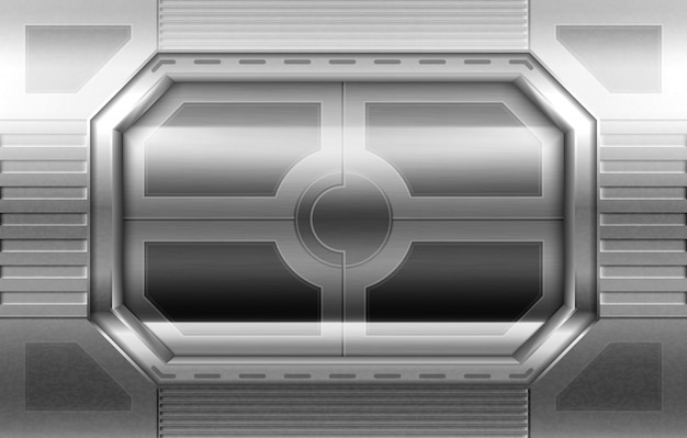 金属製のドア、宇宙船の廊下のスライディングゲート