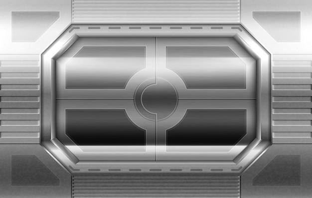 Metal door, sliding gates in spaceship hallway