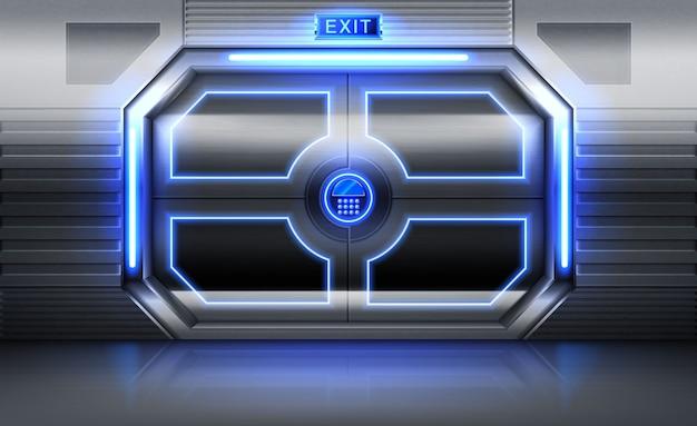 Металлическая дверь со знаком выхода, неоновым светом и панелью с кнопками для ввода пароля