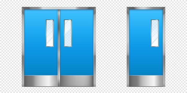 ガラス要素を備えた金属製のドアが二重および単一のオフィスの入り口を閉じています