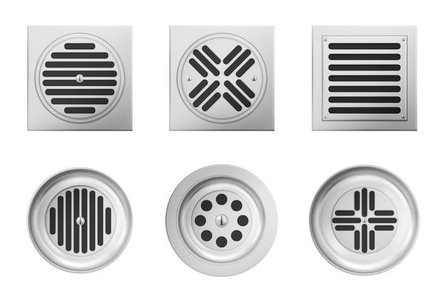 シャワーまたはシンクの白い背景で隔離の金属排水格子。バスルームまたはシャワーフロアの下水道にスチールグリッドが付いた正方形および円形の排水マンホールの現実的なセット