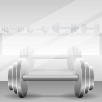 Metal dumbbell concept gym background, cartoon style