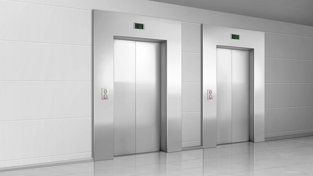Metal elevator doors in modern office hallway