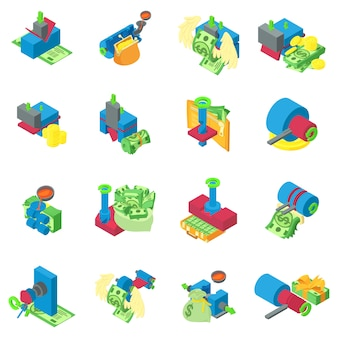 Metal extraction icons set, isometric style