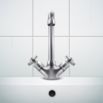 Metal faucet realistic composition with images of bathing room wall covered with white tiles and sink