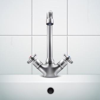 Металлический кран реалистичной композиции с изображениями стены ванной комнаты, покрытой белой плиткой и раковиной