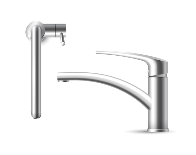 Metal faucet tap isolated on white background