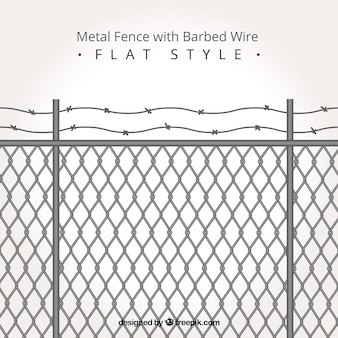 Metal fence with barbed wire in flat style