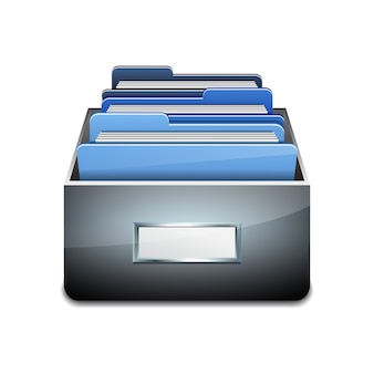 Metal filling cabinet with blue folders. illustrated concept of database organizing and maintaining