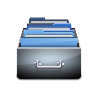 青いフォルダーと金属充填キャビネット。データベースの整理と維持の図解された概念。白い背景の上の図