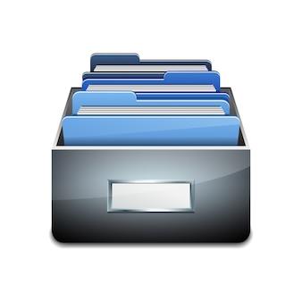 青いフォルダーと金属充填キャビネット。データベースの整理と維持の図解された概念