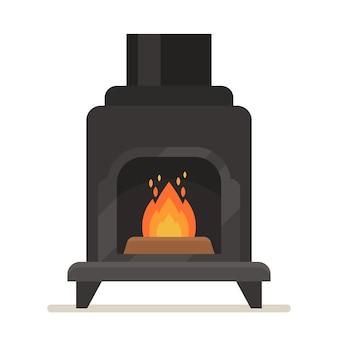 燃える火のある金属製の暖炉。白い背景で隔離の煙突が付いている鉄の黒いストーブ、現代的なスタイルの屋内の現代暖房システム、家庭用機器。漫画のベクトル図