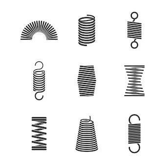 金属の柔軟なスパイラル。サスペンションスチールワイヤコイルベクトルアイコンコレクション
