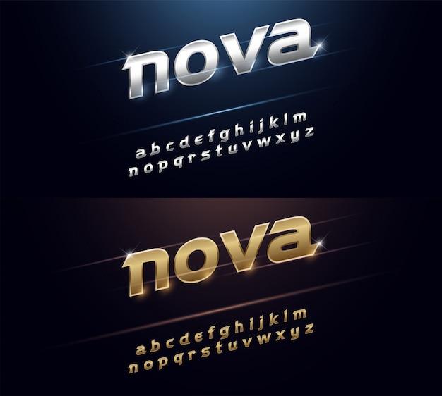 Metal fontエレガントなシルバーとゴールデンクロームのアルファベット