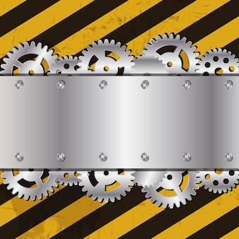 グランジストライプcunstruction背景ベクトルイラストの金属フレーム
