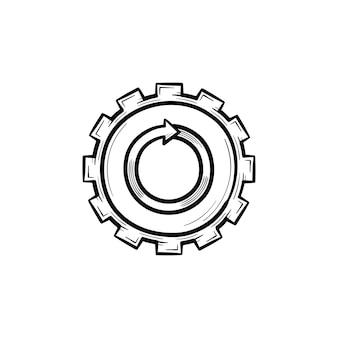 금속 기어 손으로 그린 개요 낙서 아이콘입니다. 흰색 배경에 고립 된 인쇄, 웹, 모바일 및 infographics에 대 한 톱니 바퀴 벡터 스케치 그림.