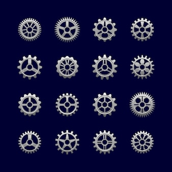 Metal gears and cogwheels for transmission.