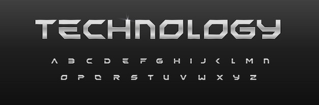 金属の幾何学的なアルファベットの鉄のフォントデザインクローム効果の文字