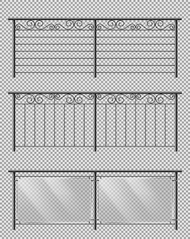 Metal and glass handrails realistic vector set
