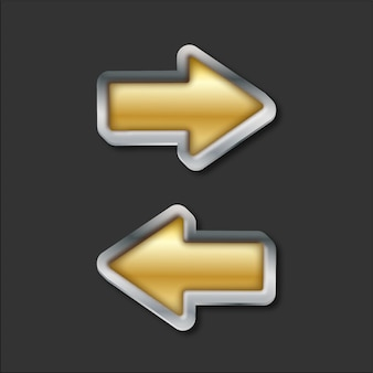 Metal and gold arrows traffic road sign vector illustration