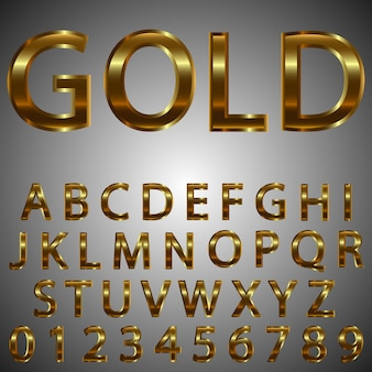 Metal gold effect letters and numbers.