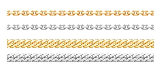 Металлические золотые и серебряные цепочки с разнообразными звеньями. золотые ожерелья из нержавеющей стали на белом фоне. украшения из драгоценного металла. векторная иллюстрация