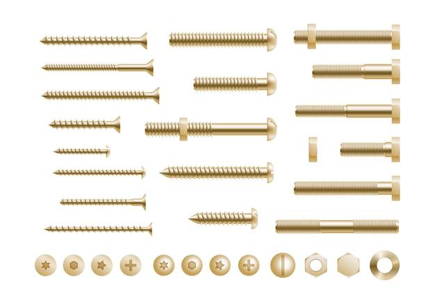 金色の金属ねじ、鋼製ボルト