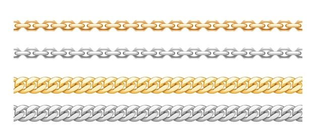 Metal golden and silver chainlets with variety chain links. gold stainless steel necklaces on white background. jewelry from precious metal. vector illustration