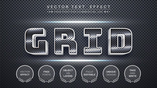 Metal grid editable text effect font style