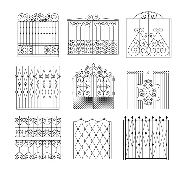 Metal grid fencing set of different designs