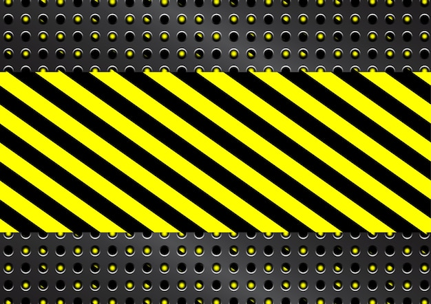 Metal grid with yellow and black stripes