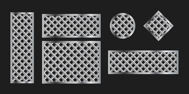 Metal grilles frames on black, set