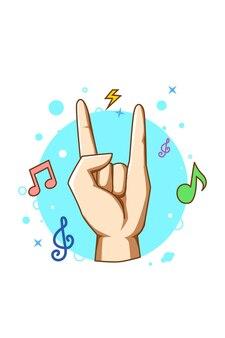 Metal hand music icon cartoon illustration