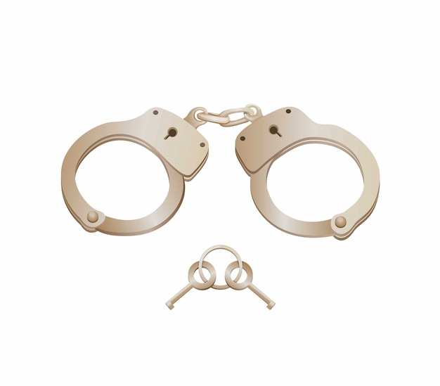 Metal handcuff with key clipart
