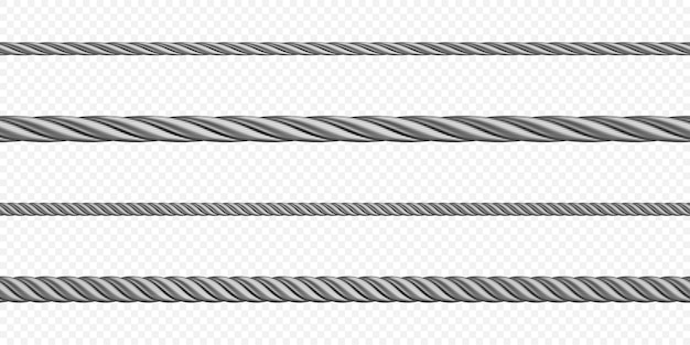 Metal hawser rope steel cord of different sizes silver colored twisted cables or strings decorative sewing items or industrial objects isolated set
