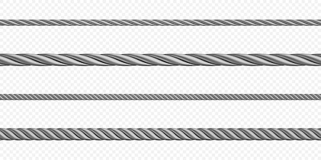 Corda in acciaio per funi metalliche di diverse dimensioni, cavi intrecciati color argento o corde, elementi decorativi per cucire o oggetti industriali isolati