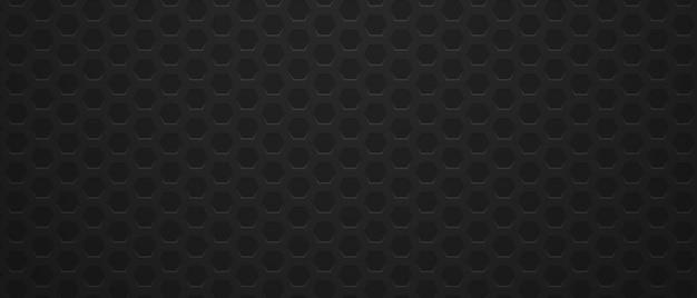 金属の六角形の黒い背景ミニマリズムの幾何学的な多角形のグリッド
